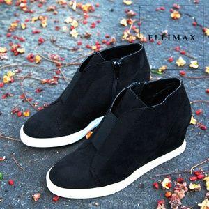 NEW🔥 Round Toe Hi-Top Wedge Platform Heel Sneaker